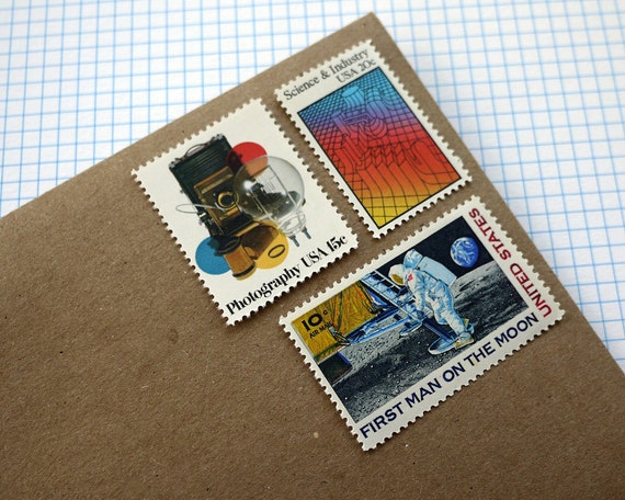 Vintage un-used - Space Science - postage stamps to post 5 letters