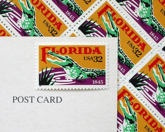 Postcards From Florida - postage stamps to post 5 POSTCARDS or use in scrapbooking and craft projects