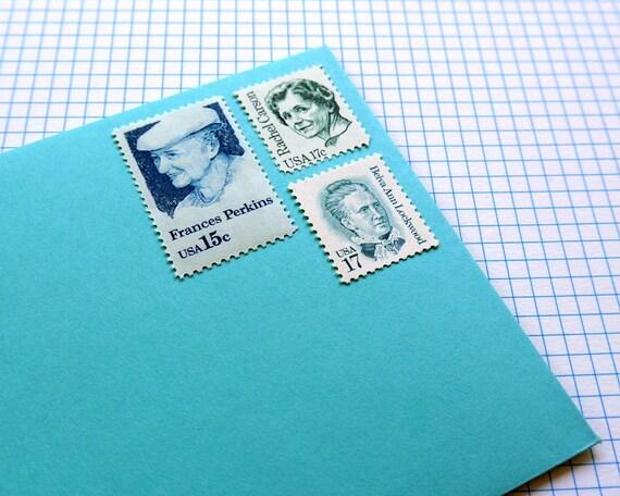 Blue-Green Ladies - Vintage unused postage stamps to post 5 letters