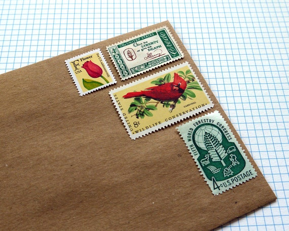 Vintage un-used - Red and Green in Nature - postage stamps to post 5 letters