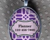 Pet iD tag oval CAT ID small breed Dog Tag Cat Tag by California Kitties light purple lattice ID UTO8744