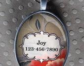 Pet iD tag oval CAT ID small breed Dog Tag Cat Tag by California Kitties grey floral ID UTO8755