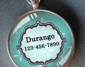 Pet tag one inch round CAT ID small breed Dog Tag Dog tag Cat Tag by California Kitties bright blue round ID Durango