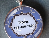 Pet iD tag one inch round CAT ID small breed Dog Tag Dog tag Cat Tag by California Kitties blue round NOVA ct3703