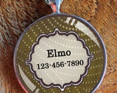 Pet iD tag one inch round CAT ID small breed Dog Tag Dog tag Cat Tag by California Kitties olive green round ID CT4512