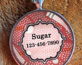 Pet iD tag one inch round CAT ID small breed Dog Tag Dog tag Cat Tag by California Kitties red and white round ID CT4446