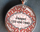 Pet iD tag one inch round CAT ID small breed Dog Tag Dog tag Cat Tag by California Kitties red and white patterned round ID CT3234