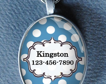 Pet iD tag oval CAT ID small breed Dog Tag by California Kitties blue polka dotted Oval ID UTO3354