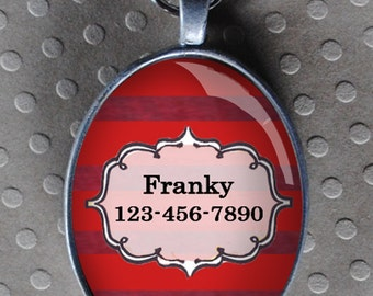 Pet iD tag oval CAT ID small breed Dog Tag by California Kitties deep red striped Oval ID UTO9377