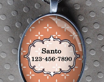Pet iD tag oval CAT ID small breed Dog Tag Cat Tag by California Kitties peach colored ID UTO3034