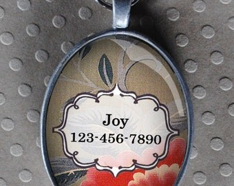 Pet iD tag oval CAT ID small breed Dog Tag Cat Tag by California Kitties grey floral ID UTO8755