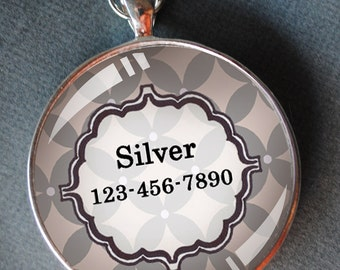 Pet iD tag one inch round CAT ID small breed Dog Tag Dog tag Cat Tag by California Kitties bright silver floral round ID CT5095