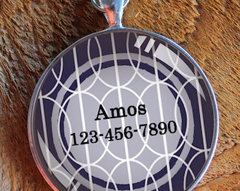 Pet iD tag one inch round CAT ID small breed Dog Tag Dog Tag Cat Tag by California Kitties blue and white patterned round ID Amos
