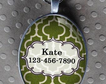 Pet iD tag oval CAT ID small breed Dog Tag Cat Tag by California Kitties green ID OTE1145