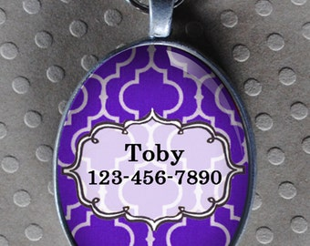 Pet iD tag oval CAT ID small breed Dog Tag Cat Tag by California Kitties Purple dog ID OTE4477