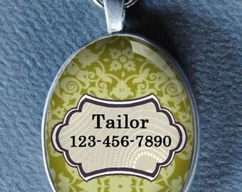 Pet iD tag oval CAT ID small breed Dog Tag Cat Tag by California Kitties green dog ID OTE1077