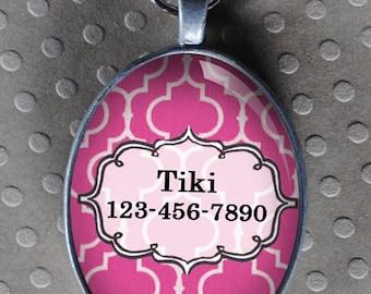 Pet iD tag oval CAT ID small breed Dog Tag Cat Tag by California Kitties light pink ID OTE7730