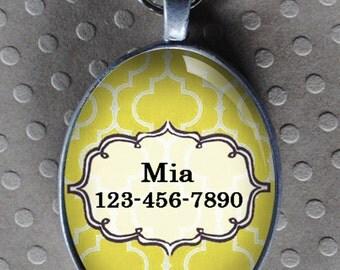 Pet iD tag oval CAT ID small breed Dog Tag Cat Tag by California Kitties yellow ID OTE7739
