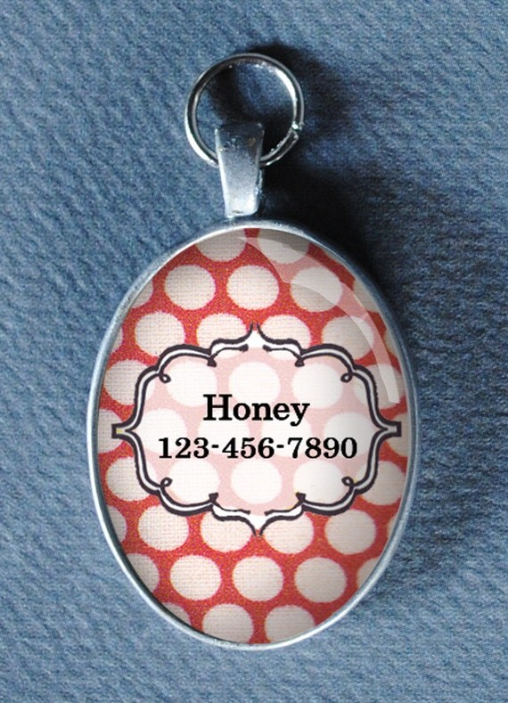 Pet iD tag oval CAT ID small breed Dog Tag by California Kitties red and white oval pet ID UTO1345
