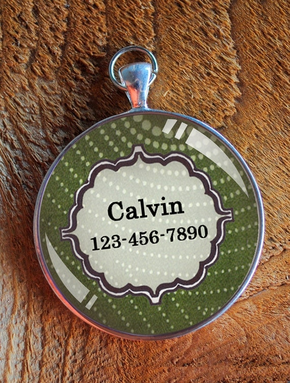 Pet iD tag one inch round CAT ID small breed Dog Tag Dog tag Cat Tag by California Kitties green round ID CT0035