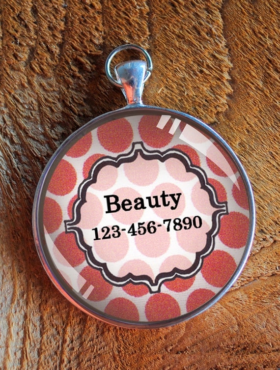 Pet iD tag one inch round CAT ID small breed Dog Tag Dog tag Cat Tag by California Kitties coral pink round ID CT2145
