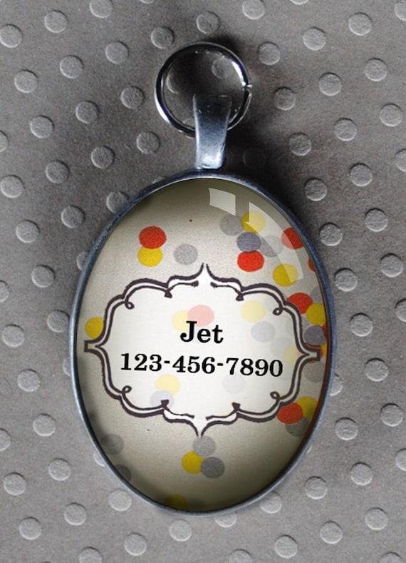 Pet iD tag oval CAT ID small breed Dog Tag Cat Tag by California Kitties light confetti ID OTE8745