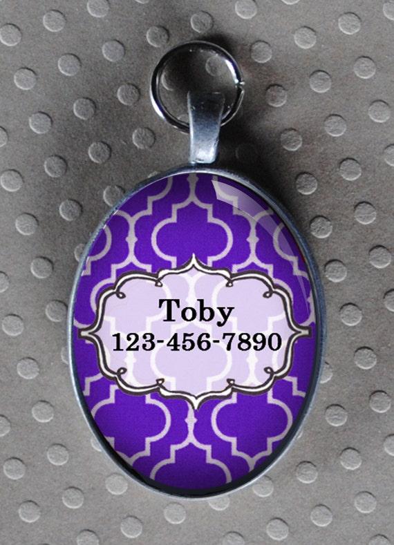 Pet iD tag oval CAT ID small breed Dog Tag Cat Tag by California Kitties Purple dog ID OTE4477