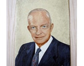 Vintage Oil Portrait of President Dwight D. Eisenhower