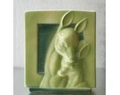 Charming 1940s Green Deer Vase/Planter