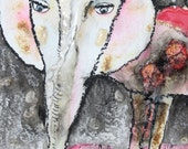 Original Art Painting - Pink elephant - Mixed Technique
