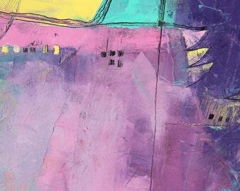SYDNEY - Original Oil Painting on Canvas - Turquois Rose Violet Purple - 80x80 cm (31,5''x31,5'')
