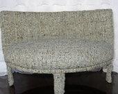 1:6 scale handmade blue tweed curved sofa