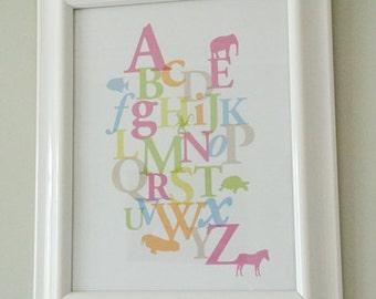 Animal Alphabet - ABC Poster - Instant Download