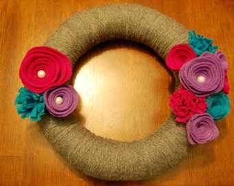 Yarn Wreath Handmade Felt Flowers Colorful