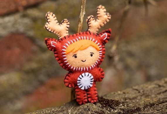 Felt Deer Costume Girl - Pocket Plush Toy