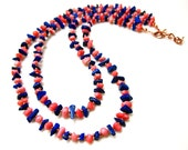 Lapis and Coral Two Strand Necklace