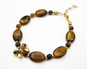 Tiger's Eye with Gold Bow Bracelet