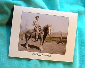 COWBOY BIRTHDAY 1940s Vintage Photo Card