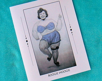 BIRTHDAY CARD 1940s Funny Arcade Lady Humorous  - Boogie Woogie