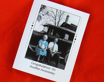 ANNIVERSARY CARD 1920s or 1930s Vintage Car Photo