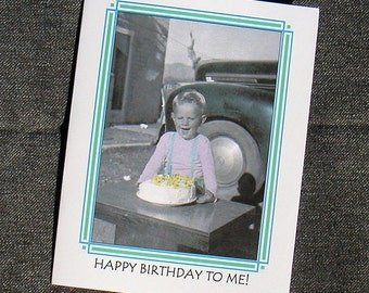 BIRTHDAY CARD 1950s Vintage Photo Of Boy With Cake