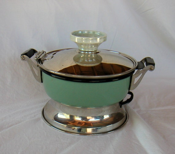 1920s 1930s HANKSCRAFT Automatic Food Cooker 652 Art Deco Vintage Green Tabletop Cookware Appliance