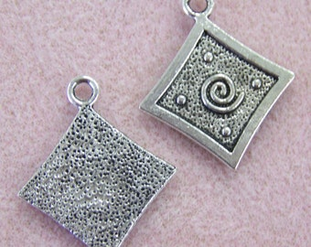 4 large antique silver diamond shaped charm with swirl 28mm x 34mm