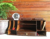 Desk Organizer Vintage Wood Table or Wall Mount
