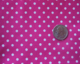 White Polka Dots on Pink Vintage Knit Fabric 1 plus yards