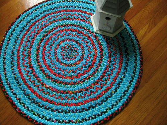 Hand Braided Round Rug Turquoise Red Black Vintage And