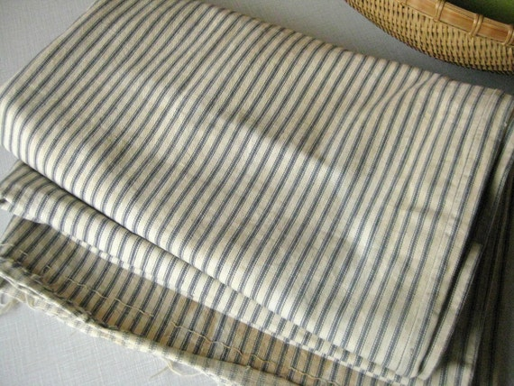 Vintage Ticking 4.2 Yards Blue White Stripes Antique