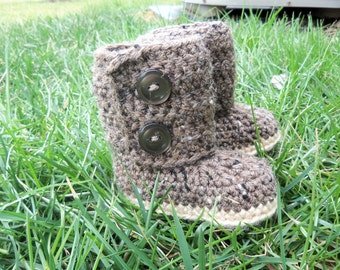 "Crochet Baby Boots - ""Stylish Earth Tone Colors"""