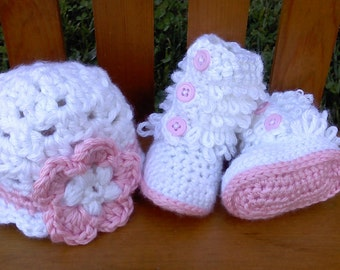 Baby Girl Crochet Baby Boots and Beanie Hat