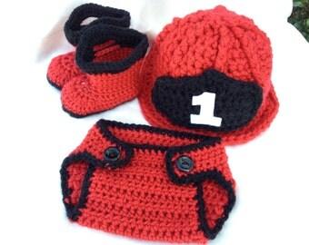 Baby Fireman Helmet, Booties, and Diaper Cover